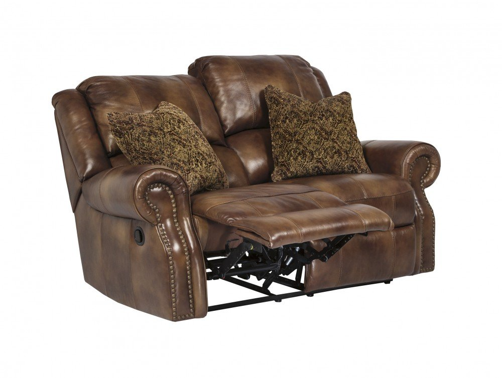 Ashley Walworth Leather Reclining Loveseat in Auburn