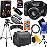 Fujifilm FinePix S4800 16.0 MP Digital Camera with 30x Optical Zoom Lens + 4 AA Batteries with Quick Charger + 11pc Bundle 32GB Deluxe Accessory Kit w/ HeroFiber® Ultra Gentle Cleaning Cloth