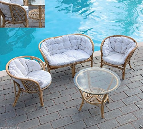 Set da giardino salottino mod. Delia in rattan divano 2 p. e 2 poltrone tavolino