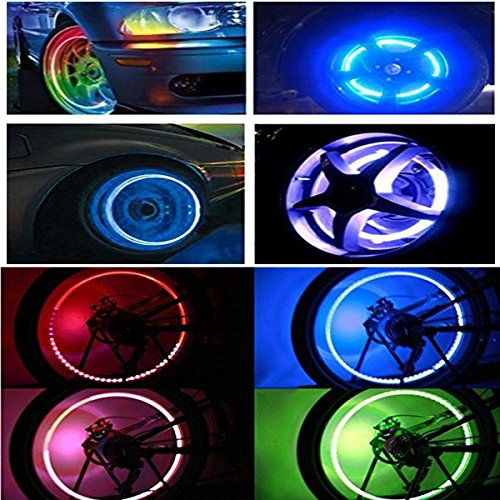 Huston Lowell Good Values Pack of 10 Awesome Super Cool Led Flash Tyre Wheel Valve Cap Light for Car Bike Bicycle Motorbicycle Wheel Light Tire Lights (RGB) (RGB) (Car Tires Lights compare prices)