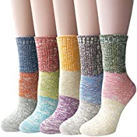 5-Pack Women's Multicolor Knitted Casual Crew Socks