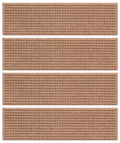 Bungalow Flooring 8-1/2 by 30-Inch Indoor and Outdoor Waterguard Stair Treads, Set of 4, Medium Brown