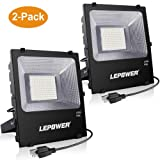 LEPOWER 2 Pack 150W LED Flood Light Outdoor, Super Bright LED Work Lights with Plug, 11000lm 6000K White Light, IP66 Waterproof Outdoor Floodlights for Garage, Playground, Yard, Basketball Court (Color: Black 150w 2 Pack, Tamaño: 150W 2 Pack)