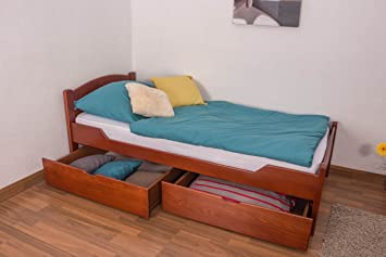 """Lit simple / Lit banquette """"Easy Sleep®"""" K1/2n avec 2 tiroirs et 2 panneaux de masquage, 90 x 200 cm en hêtre massif en couleur de cerise"""