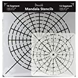 Mandala Stencils for Dot Painting - Set of 4 Stencils - 16 Segment - Small 6x6 and Large 10x10 - 12 Segment Small 6x6 and Large 10x10 (Color: Clear)