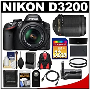 Nikon D3200 Digital SLR Camera & 18-55mm G VR DX AF-S Zoom Lens (Black) with 55-200mm VR Lens + 32GB Card + Case + Battery & Charger + Grip + HDMI Cable + Filters Kit