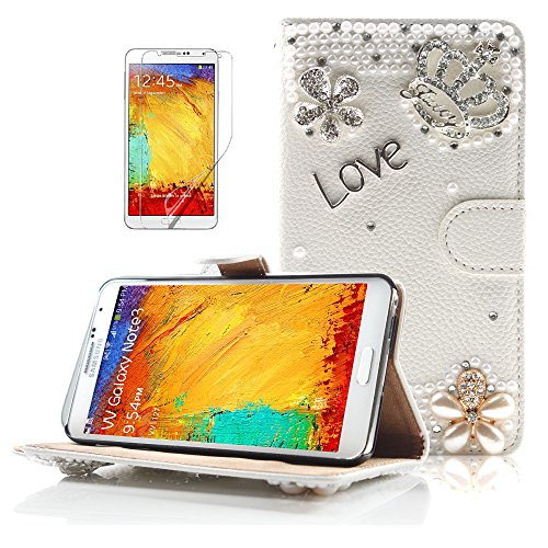 Boriyuan Bling White Pearls Golden Silvery Flower Imperial Crown Love Daisy Blossom Rhinestones 3D Handmade Luxury Shining Crystal Diamond Wallet Design Magnetic Closure Protective Flip Folio Pu Leather Case Carrying Cover With Credit Id Card Holder Slots