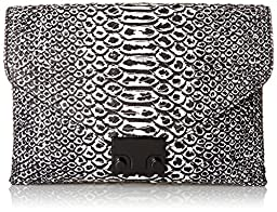 LOEFFLER RANDALL Junior Lock Anaconda Printed Leather Clutch, Black/White, One Size