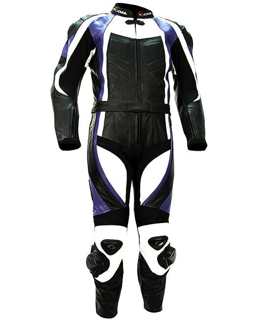 Tschul® Lederkombi 770 BLUE Combinaison moto en cuir vachette pour homme Piste Doublure Motard Protections noir