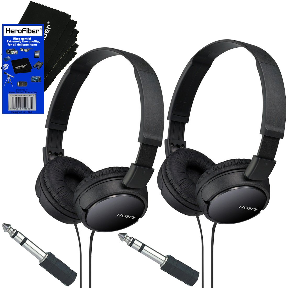 Sony MDRZX110 ZX Series Stereo Headphones (Black) with 3.5mm Mini Plug to 1/4 inch Headphone Adapter & HeroFiber® Ultra Gentle Cleaning Cloth (2 Pack) sony mini dv cassettes dvc premium series 3 pack