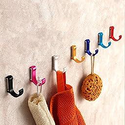 UHURU 10-Pack Hooks Wall Mount for Key Coat Bag Towel, Rack Hook Hanger, with 7 Colors, Bearing 20kg, Stainless Steel, Fixing Included