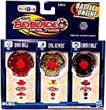Beyblades 2010 Metal Fusion Exclusive Battle Top 3Pack Earth Eagle, Evil Gemios Dark Bull