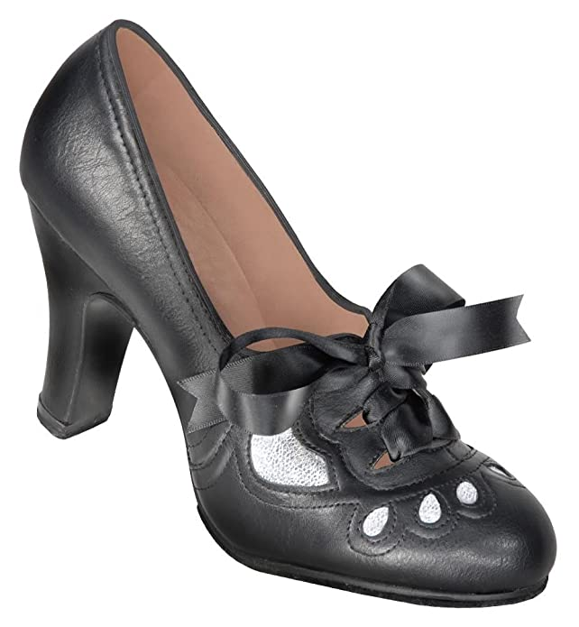 1940s Style Shoes 1930s Black and Silver Lace-up Heeled Oxford Shoes $54.95 AT vintagedancer.com