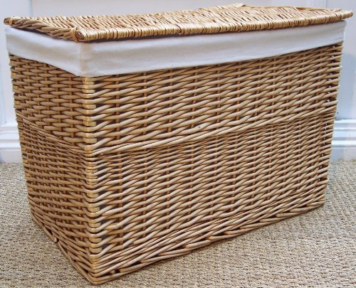 Natural wicker hamper Lined toy or laundry store Basket cane storage lining large size