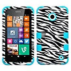 MyBat TUFF Hybrid Phone Protector Cover for Nokia Lumia 630 - Retail Packaging - Zebra Skin/Tropical Teal