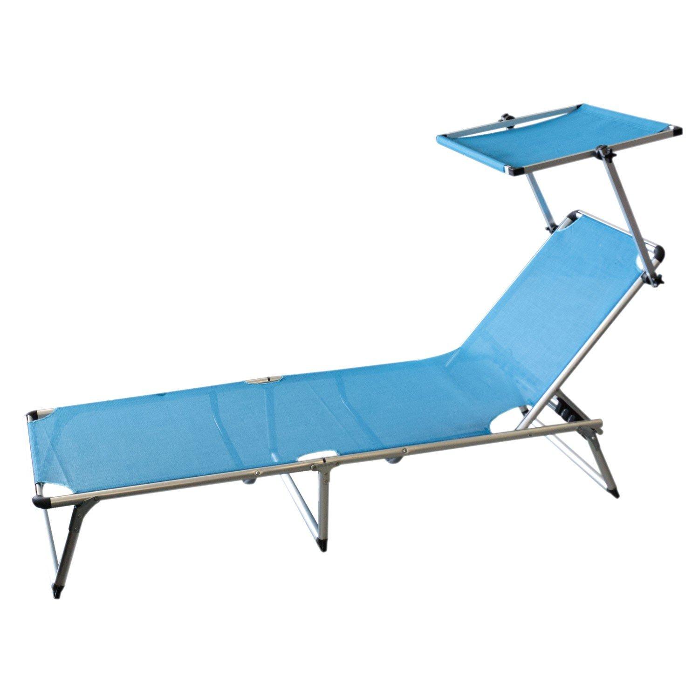 Gartenliege inklusive verstellbaren Sonnenschutz, Aluminium, blaue Textilenbespannung, Rückenlehne verstellbar, klappbar, / Sonnenliege Liegestuhl Klappliege Strandliege Campingliege Campingmöbel