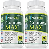 Guarana Max Energy Supplement Fatigue Fighter 22% Caffeine Guarana Seed Extract 900mg 180 Capsules 2 Bottles