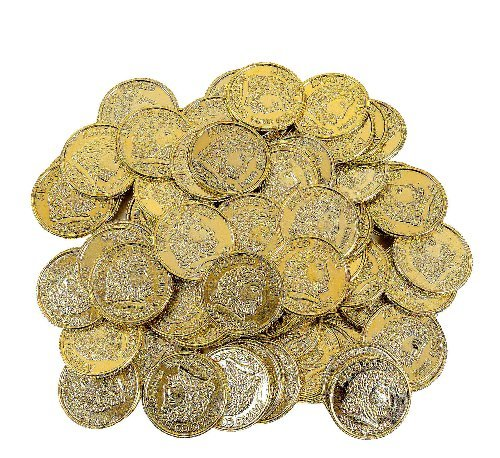 288 Gold Play Coins Pirate Party Favors Pretend Treasure Chest (Pack of 2, 144 pc)
