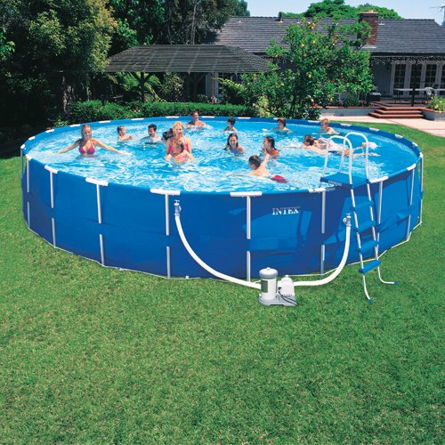 Intex 24 Ft By 52 Inch Round Metal Frame Swimming Pool Set Great Value Above Ground Pool Deck