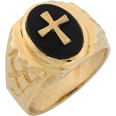 14ct Yellow Gold Onyx Latin Cross Mens Nugget Ring