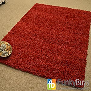 """FunkyBuys® WINE RED Luxury Branded Rug Large XL Size Thick Polypropelene Super Soft Shaggy Rugs Non Shed Modern High Pile 80 x 150cm (2ft 6"""" x 5ft 0"""") by FunkyBuys"""