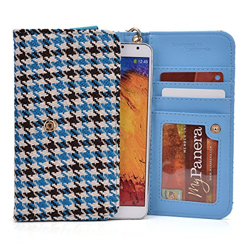 Kroo® Cell Phone Clutch Houndstooth Print Fits Prestigio Multiphone 5300 Duo front-1065601