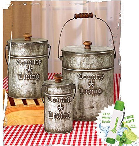 gift-included-set-of-3-rustic-country-living-canisters-home-decor-accents-free-bonus-23-oz-water-bot
