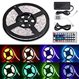 Sunnest Led Light Strip Waterproof 16.4ft SMD 5050 300leds, 12V DC Flexible Light Strips, LED Tape, RGB LED Strip Kit with 44key Remote Controller and Power Supply for Kitchen Bedroom and Sitting Room (Color: 5050rgb, Tamaño: 16.4ft)