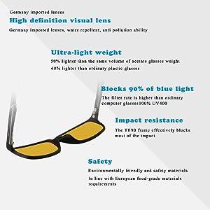 9c72465337 DUCO Glasses for Video Games 223 PRO Anti-Glare Protection Anti-Fatigue  Anti UV - Blue Light Blocking ...
