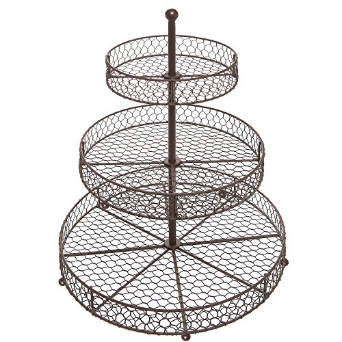 Kitchen Accessories 3 Tier Wire Fruit Basket: 3 Tier Country Rustic Chicken Wire Style Metal Fruit