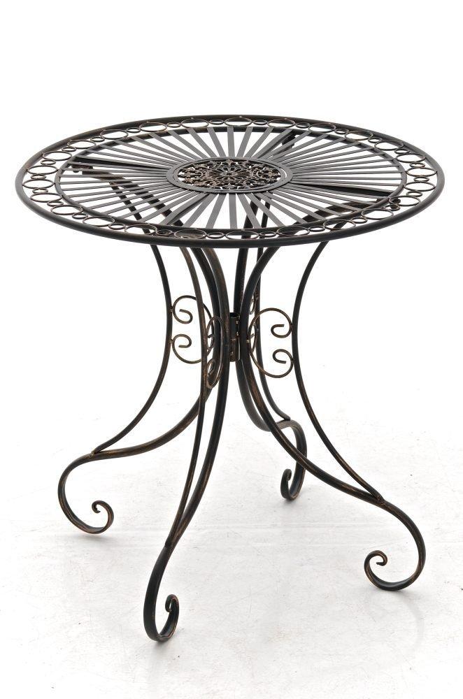CLP handgefertigter runder Design Eisentisch HARI in nostalgischem Design, Durchmesser Ø 70 cm (aus bis zu 6 Farben wählen) bronze bestellen