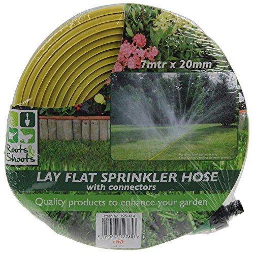 PMS® - Pompa da giardino piatta con irrigatori a pioggia e connettori, 7 m x 20 mm