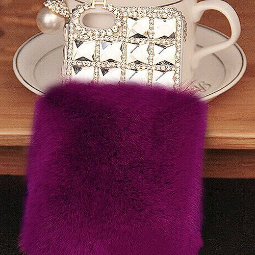 Bling Warm Luxury Rex Rabbit Fur Plastic Iphone Cases Cover For Samsung Galaxy Note3 Iii Diamond Dark Purple front-56182