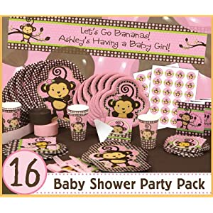 Monkey girl 16 baby shower party pack toys games for Baby shower decoration packs