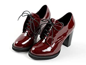 Yovayosa Patent Leather Lace-Up Platform High Heel Womens Ankle Boots Oxfords Shoes