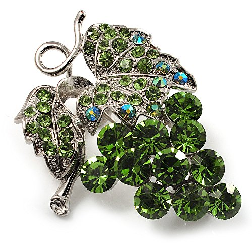 swarovski-crystal-bunch-of-grapes-brooch-light-green-silver-tone