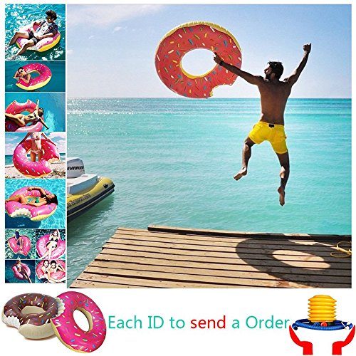 Sealive-Strawberry-Donut-Pool-Floats-Inflatable-Swim-Ring-Spring-Summer-Water-Toys-Swimming-Floats-with-a-free-air-pumpPinkChocolate-Different-Sizes-For-Kids-Children-AdultFor-Famliy-Funny-Beach-Water