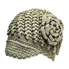 Women's Cottage Knit Newsboy Crocheted Wool Hat - Green