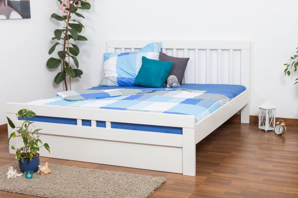 "Jugendbett ""Easy Sleep"" K8 inkl.1 Abdeckblende, 180 x 200 cm Buche Vollholz massiv weiß lackiert bestellen"