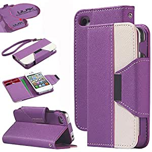 Pandamimi ULAK(TM) Wristlet Wallet Card Holder Type Magnet Design Flip leather Case Cover For iPhone 4 4S with Front and Back Screen Protector (Leather-Purple)