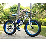 Richbit-Electric-Bike-Cruiser-Bike-Electric-Mountain-Bicycle-ebike-Snow-Bike-350W-Motor36V-Lithium-Battery-with-Shimano-TX-21-Speeds-System-40-inch-Fat-Tire-Suspension-Fork-RT-012-Blue