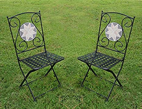 Foldable Mosaic Bistro Chairs, Set of Two Product SKU: PF10301C