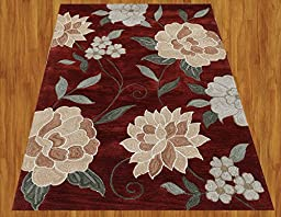 Homemusthaves Burgundy Brown Green New Modern Contemporary Floral 3D Polyester Wool Area Rug Carpet (2.6x4 Feet)