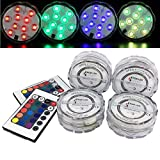 KIWISUNNY 4Pcs Underwater Submersible LED Light with Remote Controller,Multi Color Waterproof Flashing Bright light for Wedding/Party/Pond/Swimming Pool/Fish Tank Decorations