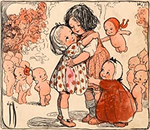 Illustration of Girls and Kewpie Dolls Hugging by Rose O'neill Wall Decal - 48 Inches W x 42 Inches H - Peel and Stick Removable Graphic