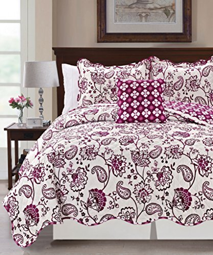 Serenta Printed Paisley Flower 4 Piece Reversible Quilted Coverlet Set, Queen, Purple (Queen Quilt Set Purple compare prices)