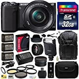 Sony NEX5 NEX-5 NEX-5T NEX5TL NEX-5TL B Mirrorless Compact Interchangeable Lens Digital Camera with 16-50mm Power Zoom Lens (Black) with Advanced Accessories Bundle Kit includes Sony HVL-F20M External Flash + 32GB Class 10 SDHC Memory Card + x3 Replacement (1200mAh) NP-FW50 Battery + Home Wall Charger with Car and European Adapter + 5 Piece High Definition Filter + 2.2x High Definition AF Telephoto Lens + .43x HD2 Wide Angle Panoramic Macro Fisheye Lens + Ring Adapter + Lens Hood + Hard Shell Ca