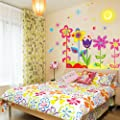 Yesurprise New PVC Creative Bird Colourful Flowers Tree Butterfly Sun living room backdrop Wall Stickers baby kid's room decal Paper House Sofa Room