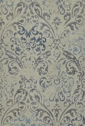 Linen Beige Area Rug, Contemporary Design 5-Foot 3-Inch X 7-Foot 7-Inch Distressed Damask Carpet