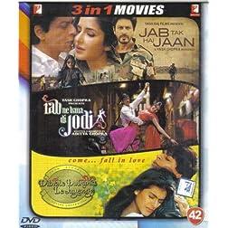 Jab Tak Hai Jaan / Rab Ne Bana Di Jodi / Dilwale Dulhania Le Jayege (Hindi Film / Bollywood Movie / Indian Cinema 3 in 1 - 100% Orginal DVD Without Subtittle)